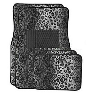 universal car floor mats for her - snow leopard printed