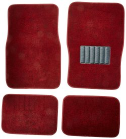 plush carpet floor mats for car red